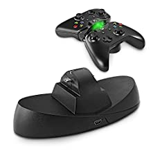 TNP Xbox One Charging Station - USB Dual Charger Ports Dock Station Cradle Stand Base with LED Indicator and USB Cable for Microsoft Xbox One Wireless Game Gaming Controller (Black) [Xbox One]