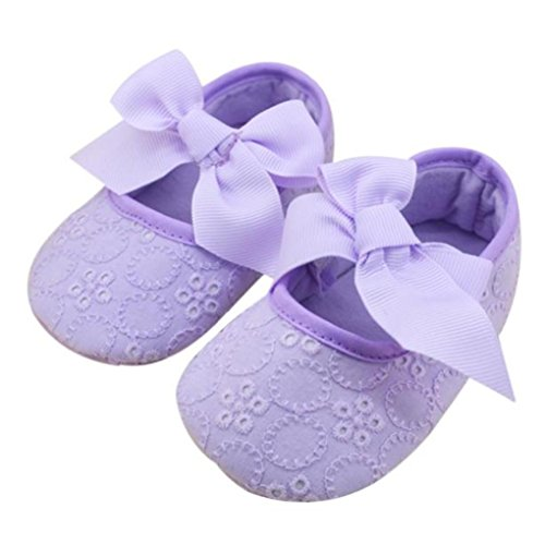 AMA(TM) Newborn Baby Crib Soft Bottom Sole Shoes Warm Ribbon Bowknot Toddler Shoes (0~6 Months, Purple) from AMA(TM)