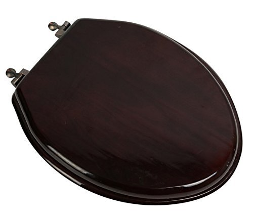 Bath D?cor 5F1E2-16OB Elongated Toilet Seat in Traditional Design with Oil Rubbed Bronze Metal Hinges, Mahogany Stained Finish by Bath D?cor by Bath D?cor