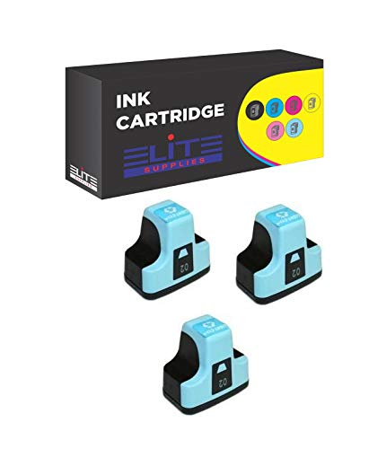(Elite Supplies 3 Pack Compatible Inkjet Cartridge Replacement for HP02 HP-02XL, HP C8721W, HP Photosmart (3 Light Cyan))