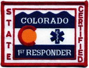 [COLORADO STATE 1st RESPONDER CERTIFIED - (Iron-On) Flag Patch, 4x3