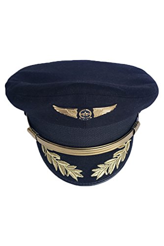 CHECKIN Custom Upscale Military Pilot Cap Airline Captain Hat Uniform Party Hat Navy Officer Sailor Cap (61cm = XL = US 7 1/2)