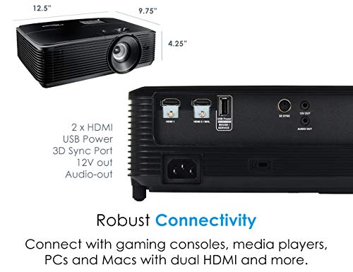 Optoma HD143X Affordable High Performance 1080p Home Theater Projector, 3000 Lumens, 3D Support, Long 12000 Lamp Life