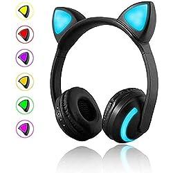 FANMURAN - Auriculares inalámbrico Estereo Gaming Headset Orejas de Gato LED Plegable Auriculares (Gato)