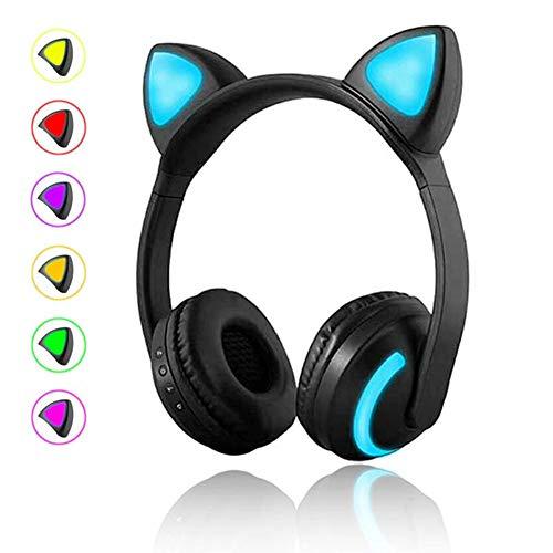 FANMURAN - Auriculares inalámbrico Estereo Gaming Headset Orejas de Gato LED Plegable Auriculares