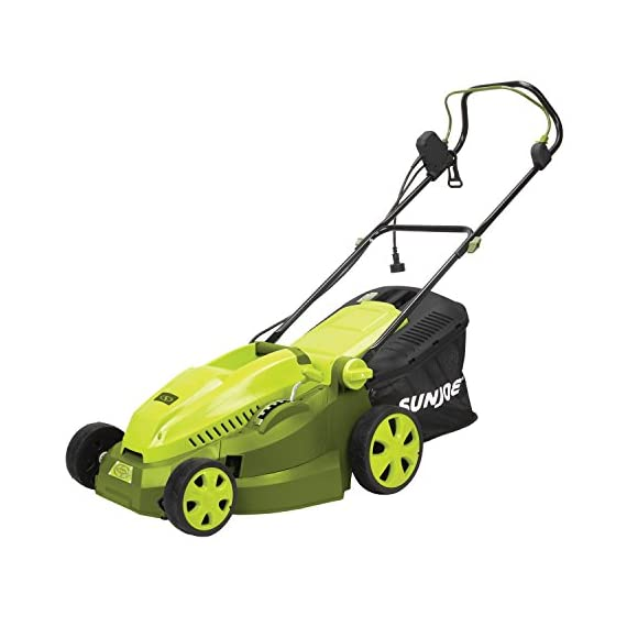 Sun Joe MJ402E Mow Joe 16-Inch 12-Amp Electric Lawn Mower + Mulcher 2 Maintenance free - No gas, oil or tune-ups Best use: small to mid-sized lawns. Cutting Heights include : 3.3, 2.9, 2.5, 2, 1.6, and 1.2 Inches Detachable grass catcher for easy disposal