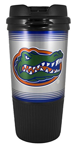 Gator Gripper - GameDay Novelty NCAA Florida Gators Insulated Platinum Gripper Travel Tumbler with No Spill Flip Lid, 16 oz