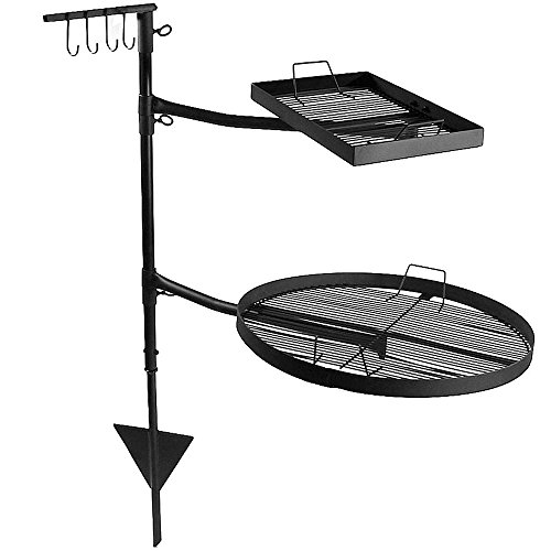 Sunnydaze Dual Campfire Cooking Grill Grate Swivel System, Outdoor Adjustable Fire Pit BBQ Grilling from Sunnydaze Decor