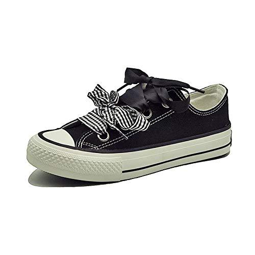 Punta Canvas Donna Da Tacco Black Comfort Autunno Scarpe Piatto Bianco Zhznvx nero Sneakers Tonda q6fRZTzRK