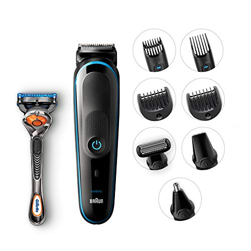 Braun 9-in-1 All-In-One Trimmer MGK5080 Beard Trimmer & Hair Clipper, Black/Blue