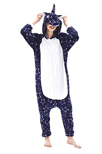 Adult Pajamas Unisex Sleepsuit Animal Sleepwear Jumpsuit Halloween Cosplay Costume (S (Height 151-160 cm), Blue B)