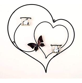 Collectible India Iron Decorative Double Heart Wall Sconce Candle Holder,(Size 15 X 13 Inches) at amazon