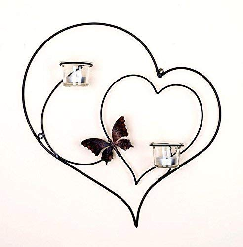 Collectible India Iron Decorative Double Heart Wall Sconce Candle Holder,(Size 15 X 13 Inches) Tealight Candle Holders at amazon