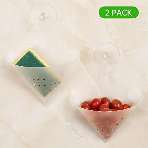 Kitchen Sink Strainers 2-Pack Folding Filter Bag Sponge Holder Garbage Stopper Waste Food Strainer