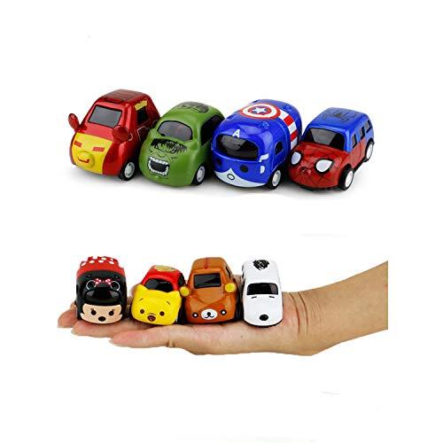 Eyours Pull Back Alloy Car, Go Die Cast Metal Constructions Assorted Mini Pocket Cartoon Car Set, 4 pcs (Spiderman Cartoon Action Figures)