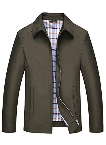 P2U Mens Harrington Jacket Vintage Classic Lightweight Coat Olive XL