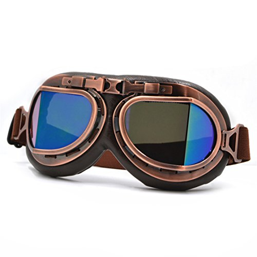 Cool Custom Motorcycle German Reflective Goggles Chrome For Women & Men Leather Indian Model 2