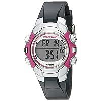 Marathon by Timex T5K646 Reloj digital con correa de resina gris /rosa de tamaño mediano para mujer