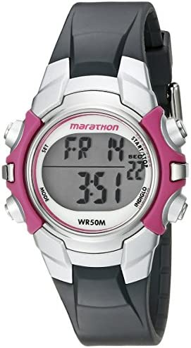 Marathon by Timex Ladies T5K646 digital medium gray / pink watch with resin strap