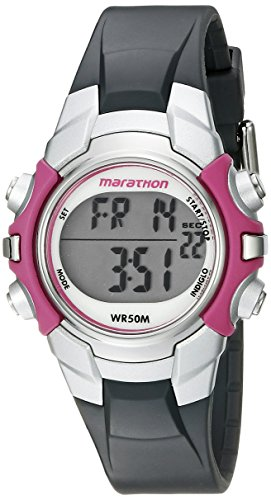 Marathon by Timex Women's T5K646 Digital Mid-Size Gray/Pink Resin Strap Watch Timex