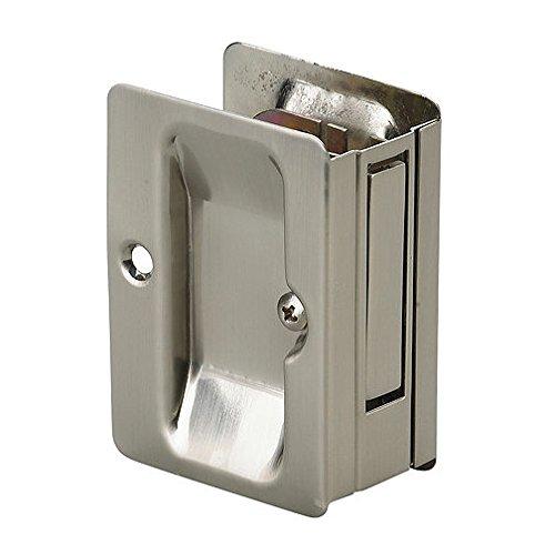 Onward 1700NBPSBC Pocket Door Pull with Passage Lock - Rectangular, Brushed Nickel
