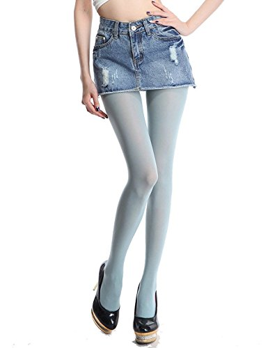 Blue Baby Tights - Siftantin Women's Solid Colored Footed Tights (Light Blue)