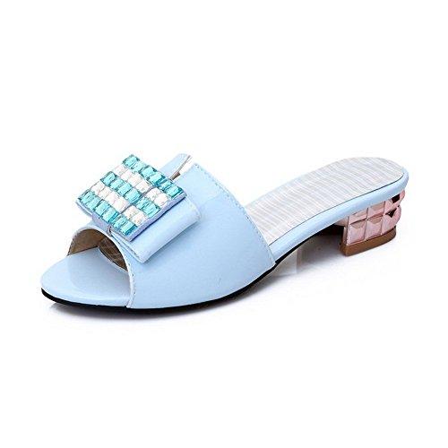 AllhqFashion Mujeres Peep Mini Tacón Sin cordones Sólido Sandalia Azul