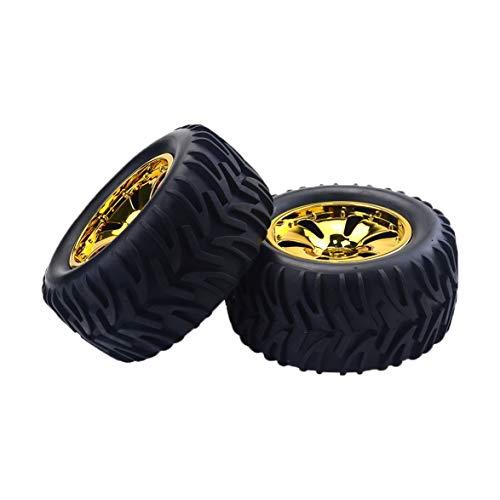 Pandamama 2 PCS RC Monster Truck Wheel Rim Tires Kit for 1:10 Traxxas Tamiya HSP HPI Kyosho RC Trucks Car Rubber Tyre Parts ()