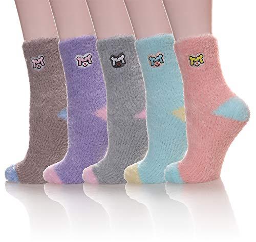 Velice Women's Super Soft Warm Fuzzy Slipper Socks Cozy Winter Crew Socks (Dog) ()