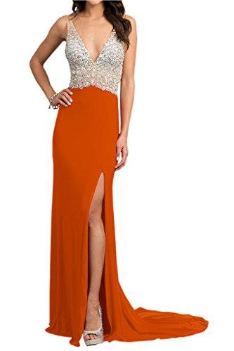Steine Chiffon V Abendkleid Rueckenfrei Hochwertig Promkleid Ivydressing Lang amp;Tuell Damen Festkleid Ausschnitt Orange 8qEAFA