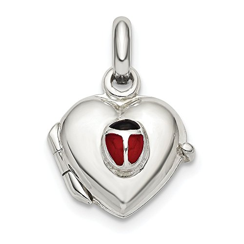 Sterling Silver Heart Enameled Ladybug 10mm Locket 10x10mm