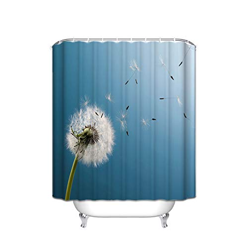 FANNEE Blue Sky Spring Flowers Dandelion White Floating Vertical Stripes Shower Curtain Waterproof, Soap and Mildew - Polyester Bathroom Curtain Decoration Set - 12 Shower Hooks (72 X 72 inches) Bear Blue Flower Shower