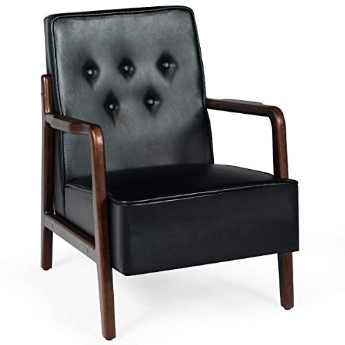 Giantex Mid Century Wooden Accent Arm Chair, Retro Upholstered Wooden Lounge Chair, Rubber Wood, Perfect for Living Room, Balcony, Company Lobby, Club Chair (PU Leather, Black)