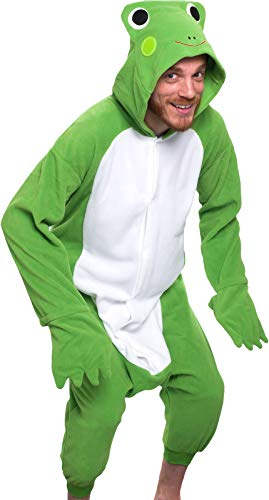 Silver Lilly Adult Pajamas - Plush One Piece Cosplay Animal Costume (Frog, L)