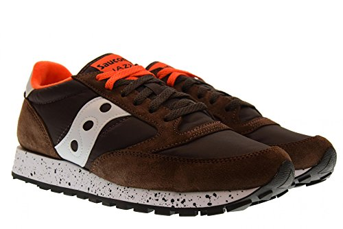 Original Saucony Basso Scamosciata Jazz Pelle Marrone In Men 7BFBS4