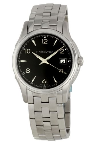 Hamilton Jazzmaster Quartz Black Dial Metal Bracelet Mens Watch H32411135