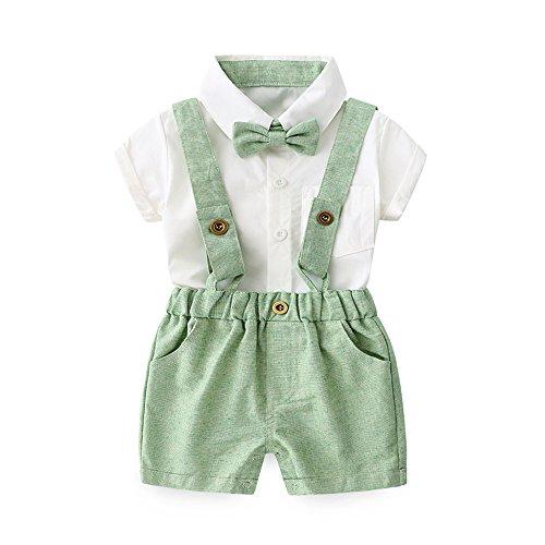 Tem Doger Baby Boys Cotton Gentleman Bowtie Short Sleeve Shirt+Overalls Shorts Outfits Set (Green, 70/0-6 Months)