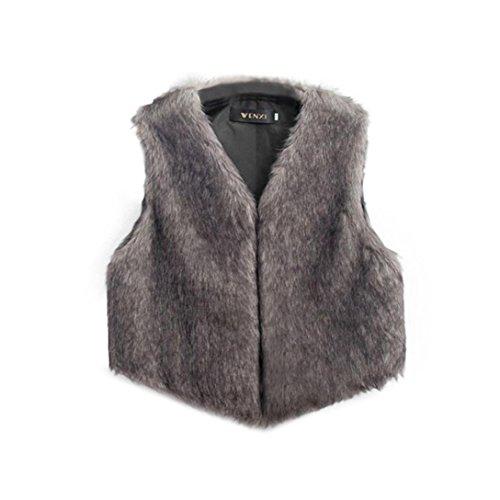 Chaleco sin mangas de las mujeres Chaqueta de abrigo Chaleco de la chaqueta de pelo largo gris