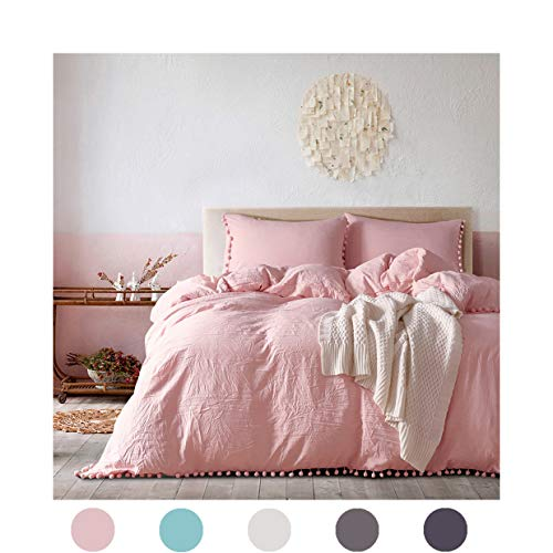 MOVE OVER 3 Pieces Pink Bedding Light Pink/Peach Duvet Cover Set Ball Fringe Pattern Soft Pink Girls Bedding Sets King One Duvet Cover Two Ball Fringe Pillow Shams (King, ()