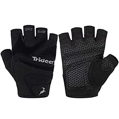 Trideer Ultralight Weight Lifting Gloves with Anti-slip 3-Piece Silica Gel Grip & Adjustable Velcro Strap, Gym Gloves for Workout, Fitness, Cross Training