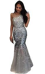 Crystal Beaded Mermaid Evening Dress