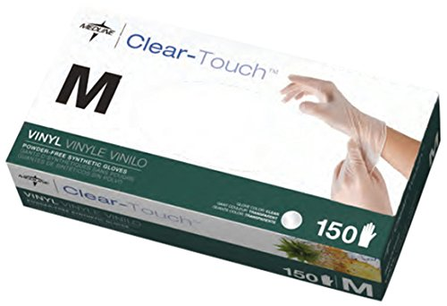Medline 6CLE202 Clear-Touch Vinyl Multi-Purpose Gloves, Latex Free, Medium (Pack of 1500) by Medline
