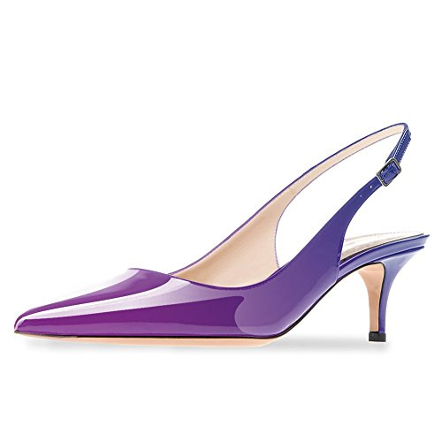 2000a228f9787 Cdvintu Women Slingback Sandals Pointed Toe Mid Heel Pumps Low Heel Patent  Leather Dress Shoes Wedding Party (15, Purple to Blue)