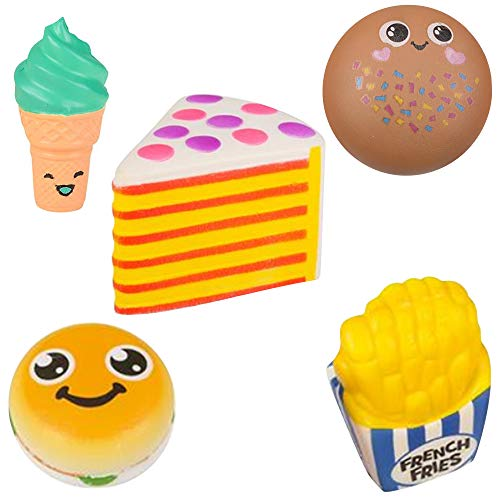 PTB Squish Squishie Fast / Junk Food ( Hamburger, French Fry, Cookie, Cake, & Ice Cream ) - 5 Piece Set
