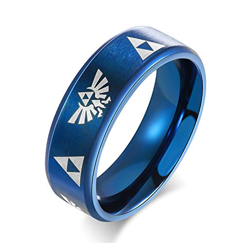 XOFOAO 8MM Women's Men's Stainless Steel The Legend of Zelda Triforce Ring,4 Color (Blue, 9)