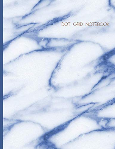Dot Grid Notebook: Modern Blue Marble Dot Matrix Writing Journal with 150 Dotted Pages. Large Size.