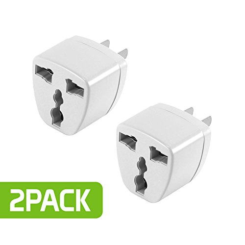 Cellet USA, Canada, Mexico, Japan Travel Plug Power Adapter - TYPE B Plug. Round Pin (EU/UK/Korea/China/AU) to Flat (USA Canada Mexico Japan) Pin, 2 Pack, ()