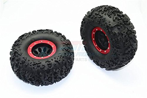 2.2  Rubber Rally Tires and Plastic Wheels for 1 10 R C Cars - 2Pc Set Red