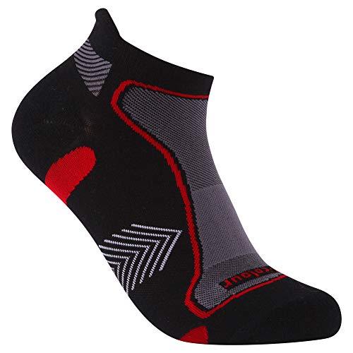 (Men's Moisture Wicking Cycling Socks, Three street Women and Men No Show Running Golf DRY COOLER Fabric Socks,Trail Walking Socks, Lightweight Athletic Hiking Socks Black Red 1 Pair L)
