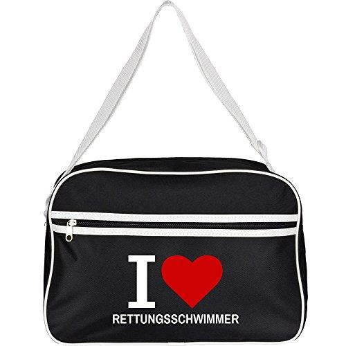 Retrotasche Classic I Love Rettungsschwimmer schwarz